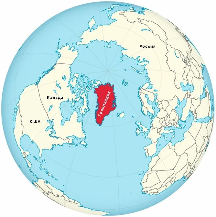 Размер Гренландии на карте
