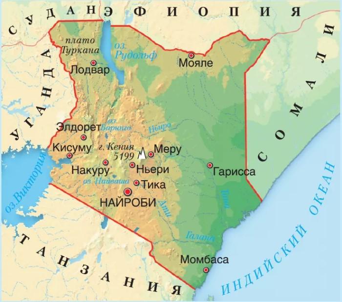 Карта Кении границы